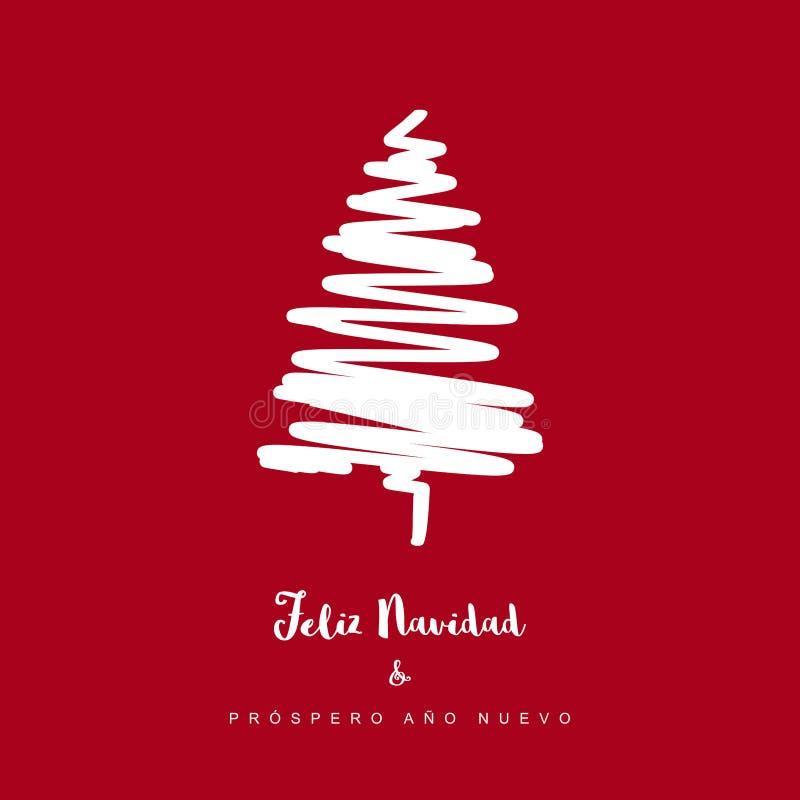 Nuevo för ano för prospero för Feliz navidad y - glad jul och lyckligt nytt år Spanskt julvektorkort royaltyfri illustrationer
