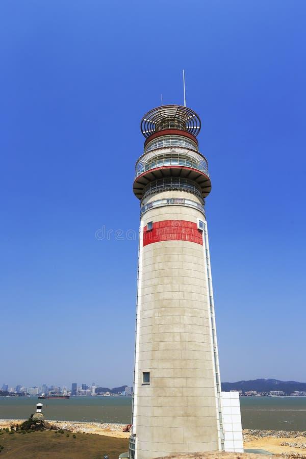 Nuevo faro del puerto del zhangzhou imagenes de archivo