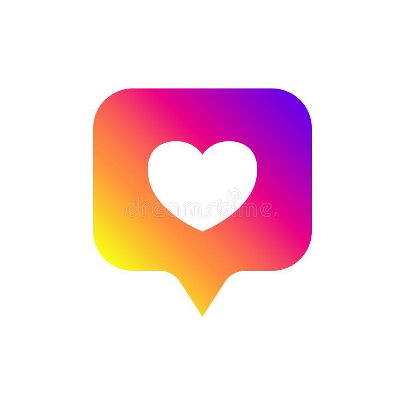 Nuevo icono contrario de la notificaci?n Icono como Instagram Los medios sociales les gusta el ui del insta, app, iphone Ilustrac stock de ilustración