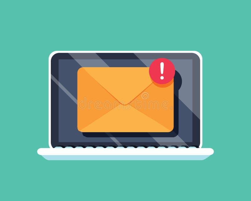 Nuevo icono del mensaje en la pantalla del ordenador portátil Ilustración del vector Un nuevo sobre del mensaje entrante con la n libre illustration