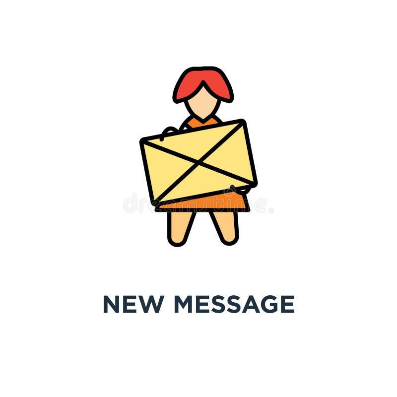 Nuevo icono del mensaje la letra del buzón de entrada, mujer divertida linda sostiene un sobre amarillo con el diseño del símbolo stock de ilustración