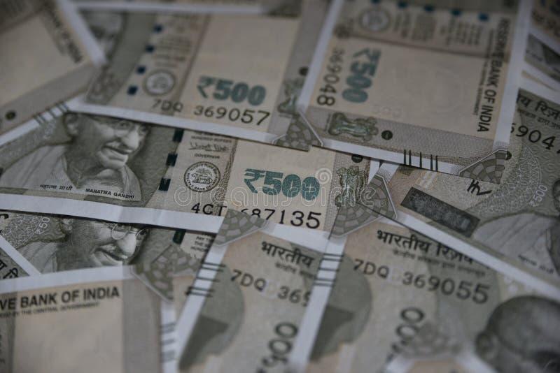Nuevo indio notas de la moneda de 500 rupias, fondo entero imagenes de archivo