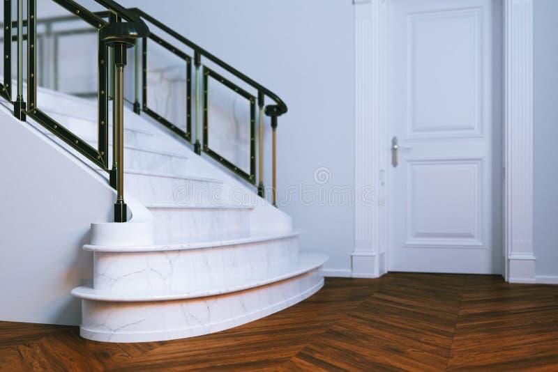 Nuevo interior clásico con la escalera a puerta cerrada y de mármol 3D r imagen de archivo