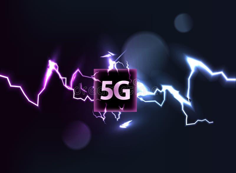 Nuevo Internet de alta velocidad, conexión innovadora, la velocidad del wifi 5G del ejemplo del vector de la tecnología de transm ilustración del vector