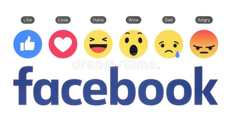 Nuevo logotipo de Facebook con el botón similar y la reacción comprensiva de Emoji ilustración del vector