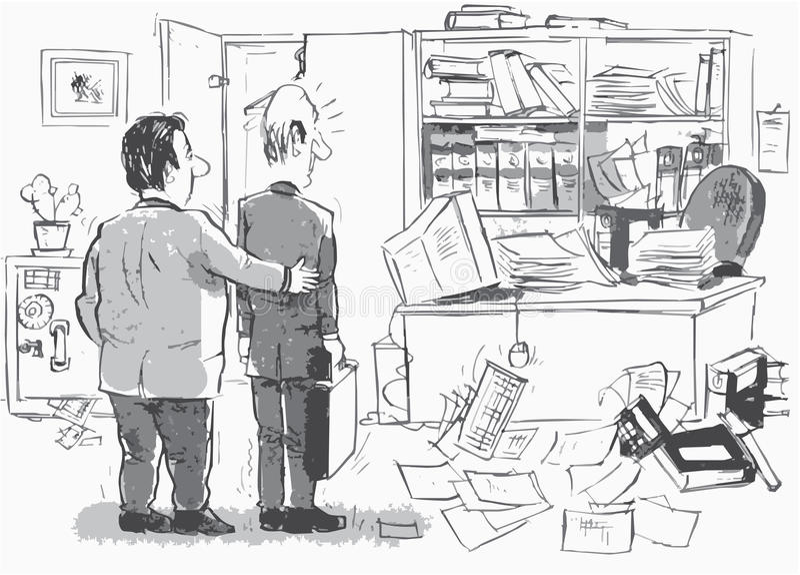 Nuevo lugar de trabajo para el recién llegado stock de ilustración