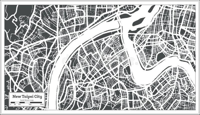 Nuevo mapa de la ciudad de Taiwán de la ciudad de Taipei en estilo retro Ejemplo blanco y negro del vector stock de ilustración
