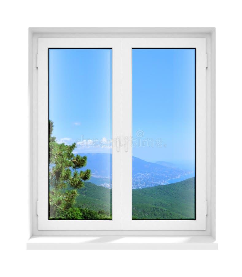 Nuevo marco de ventana de cristal plástico cerrado aislado stock de ilustración