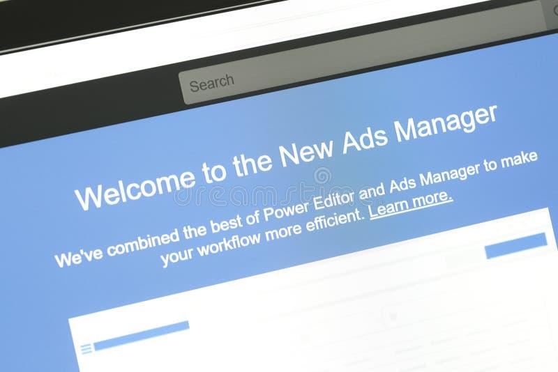 Nuevo mensaje del encargado de anuncios del sitio web de Facebook imagen de archivo libre de regalías