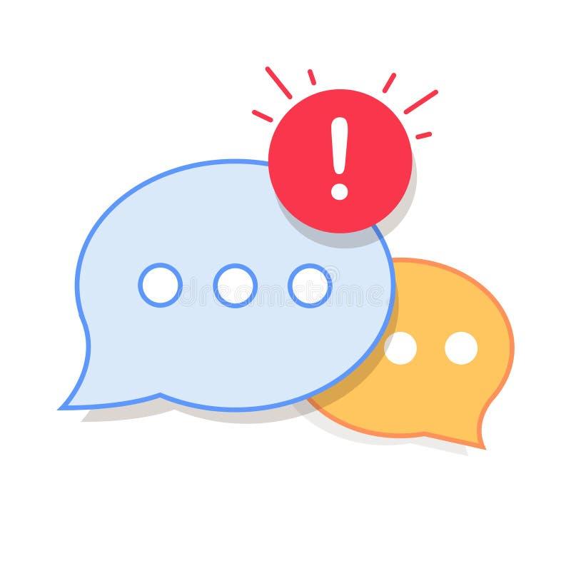 Nuevo mensaje, diálogo, icono de la notificación de la burbuja del discurso de la charla stock de ilustración