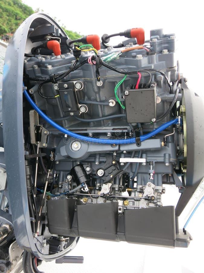 Nuevo motor externo de 200 HP, 2 tiempos Potente motor Yamaha de dos tiempos Motor de barco pesado suspendido en popa de barco El fotos de archivo libres de regalías