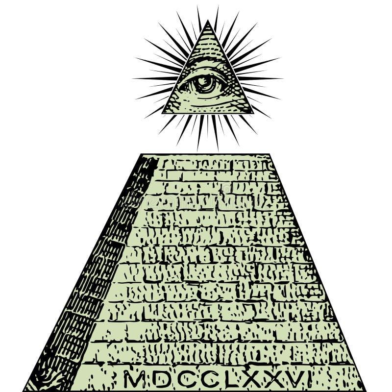 Nuevo orden mundial Un dólar, pirámide Cuenta de los símbolos de Illuminati, muestra masónica, todo el vector del ojo que ve libre illustration