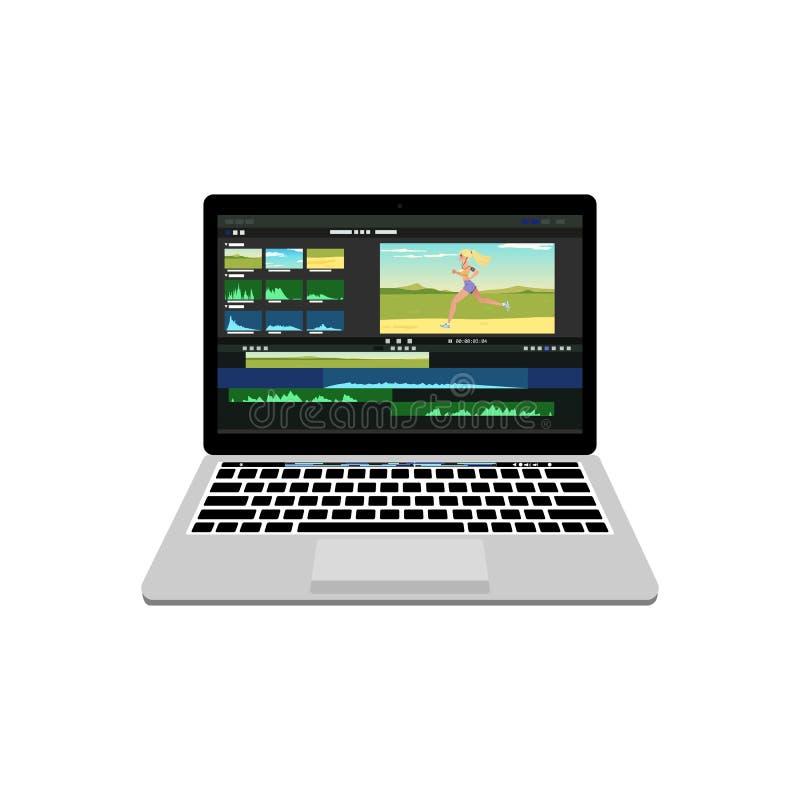 Nuevo ordenador portátil con el redactor de proceso video libre illustration