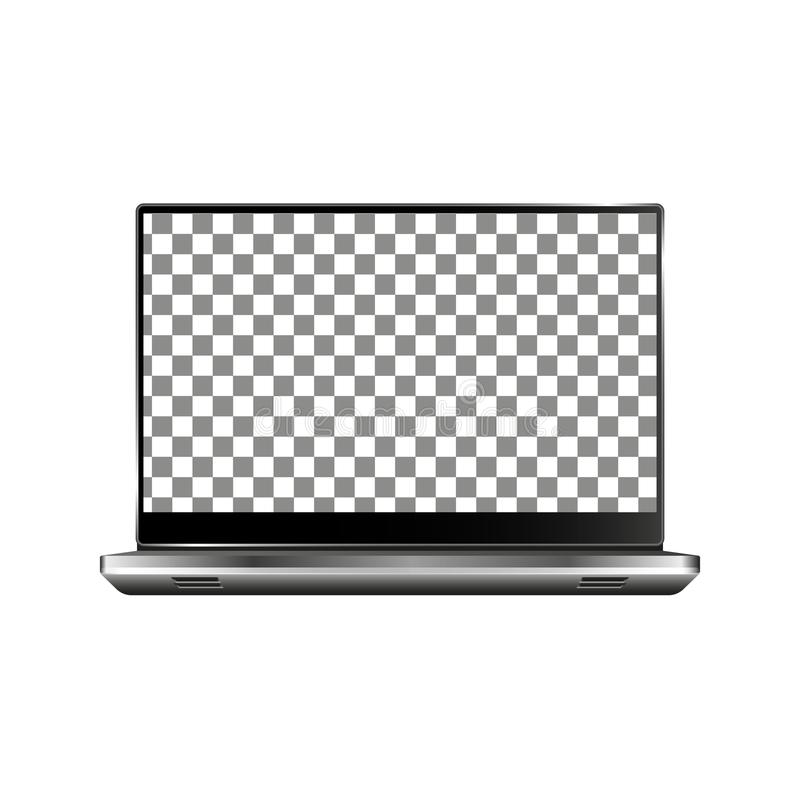 Nuevo ordenador portátil delantero y vector negro que dibuja el formato eps10 aislado en el fondo blanco ilustración del vector