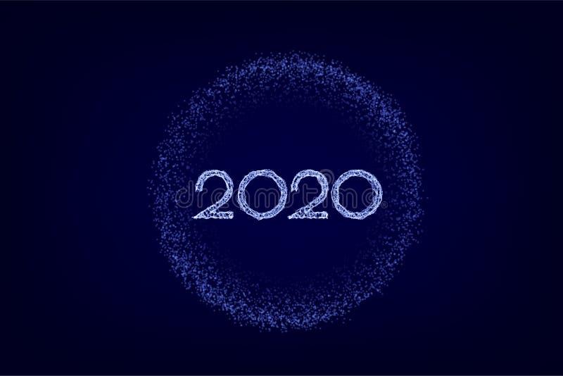 Nuevo 2020 a?os feliz Ejemplo del d?a de fiesta del vector Números de neón 2020 de Wireframe Años Nuevos 2020 líneas de la forma, fotos de archivo libres de regalías