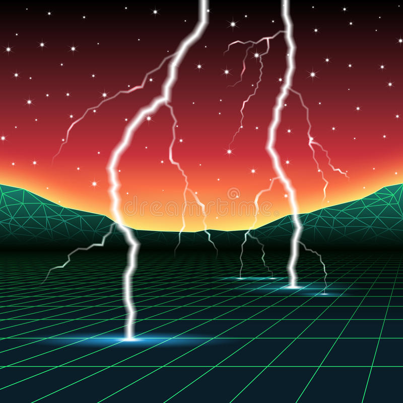 Nuevo paisaje retro de neón del ordenador de la onda con el relámpago ilustración del vector