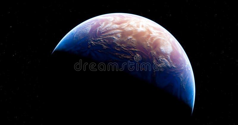 Nuevo planeta del azul de la ficción ilustración del vector