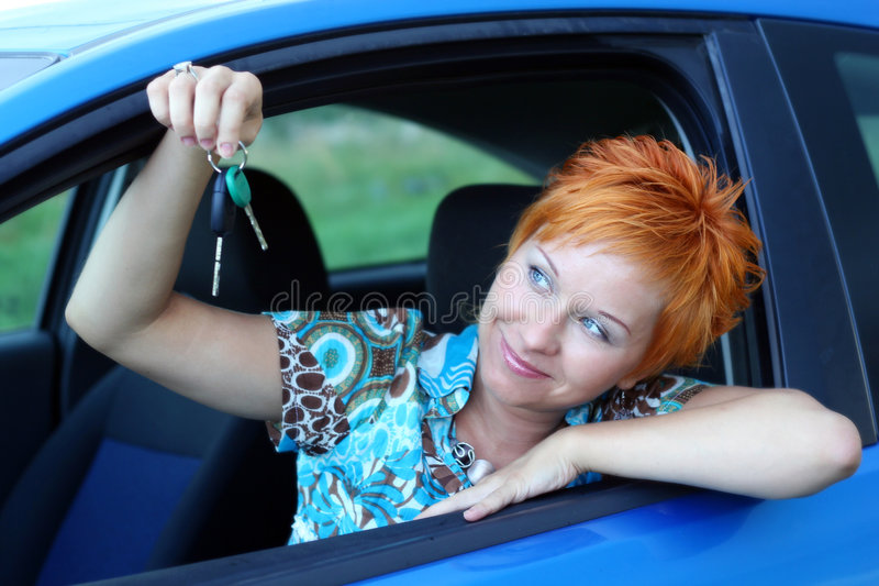 Nuevo programa piloto con clave del coche imagen de archivo