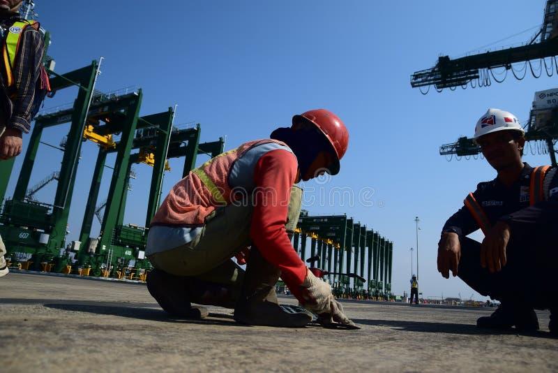 Nuevo puerto de Tanjung Priok de la estructura imagenes de archivo
