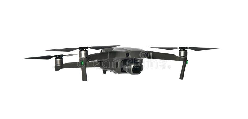 Nuevo quadcopter gris oscuro del abejón con la cámara digital y los sensores que vuelan en blanco imagen de archivo libre de regalías