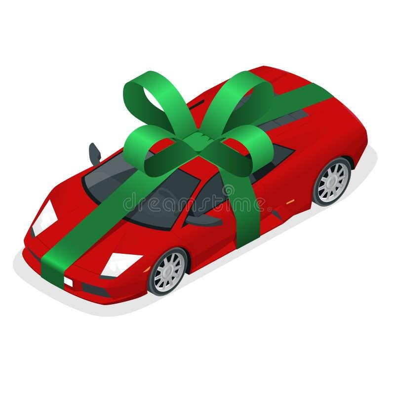 Nuevo regalo isométrico del coche ilustración del vector