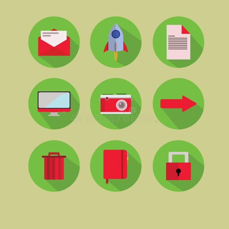 Nuevo rojo plano del verde del icono foto de archivo libre de regalías