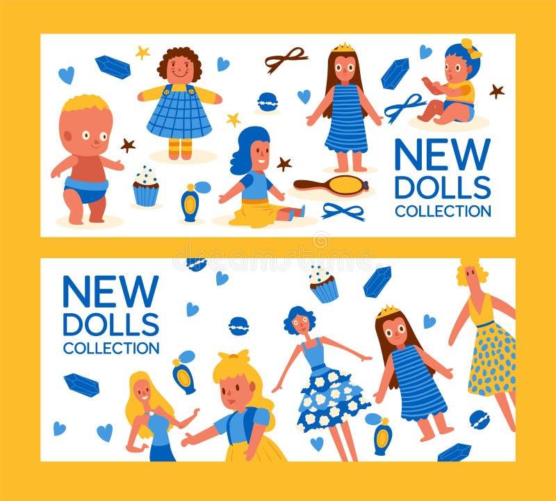 Nuevo sistema de la colección de las muñecas del ejemplo del vector de las banderas Juguetes del bebé de la niñez con los accesor stock de ilustración