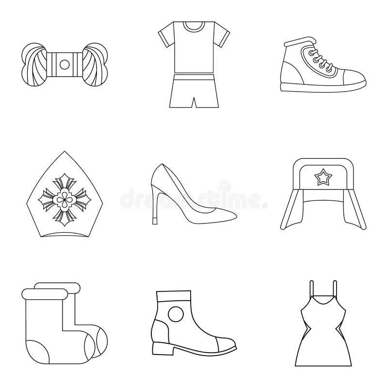 Nuevo sistema del icono de la ropa de la moda, estilo del esquema ilustración del vector