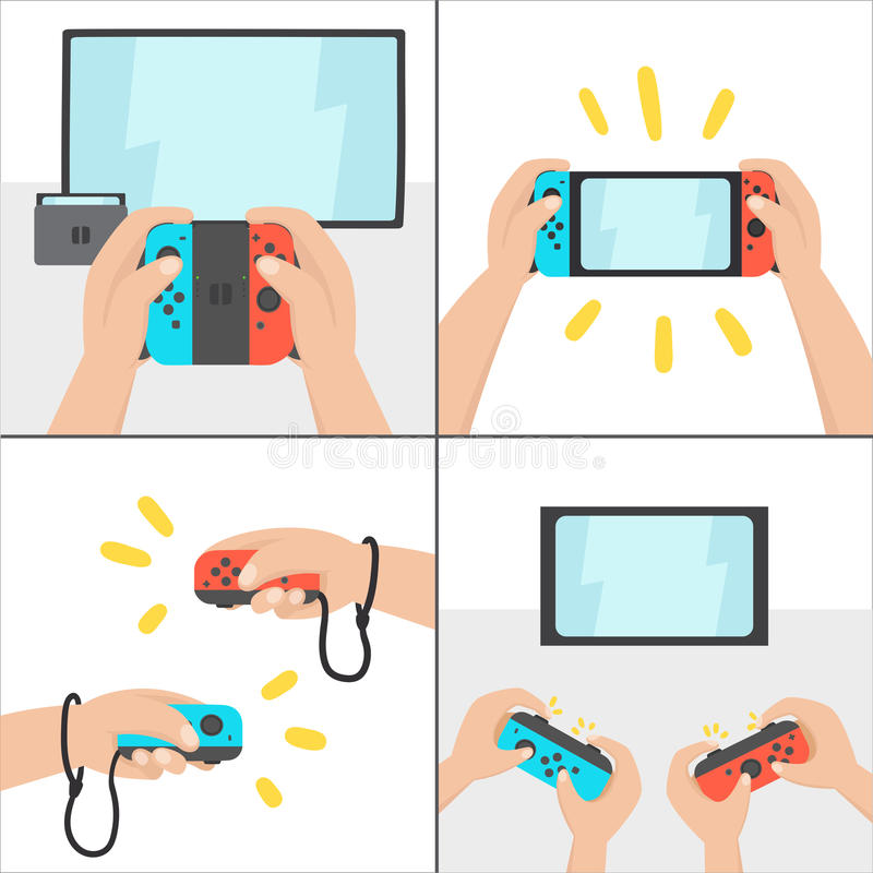 Nuevo sistema del juego de la transferencia Consola portable ilustración del vector