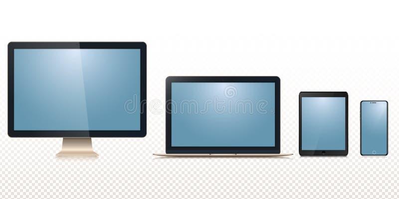 Nuevo sistema del monitor imac, macbook del ordenador portátil haga tabletas el ipad, iphone del smartphone aislado en un fondo d stock de ilustración