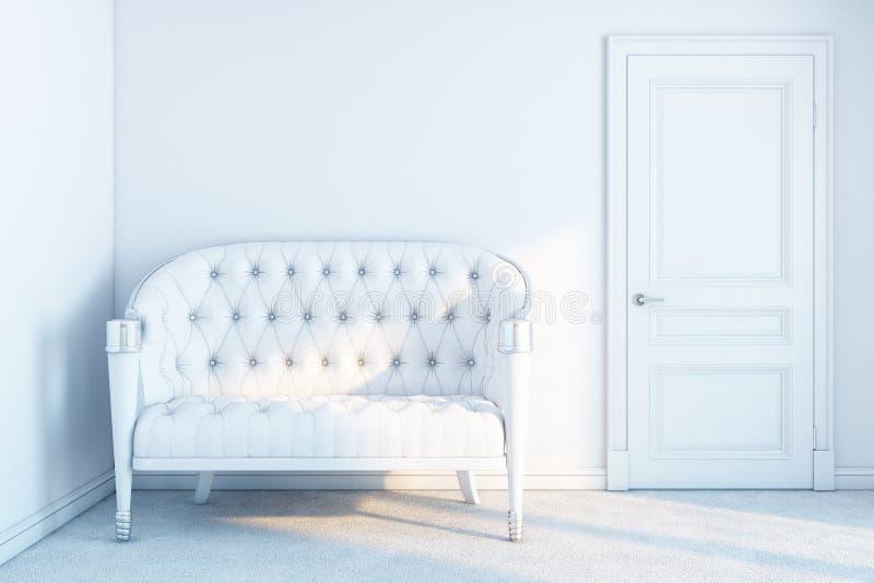 Nuevo sitio interior blanco con un sofá foto de archivo