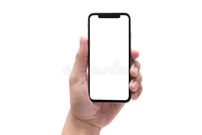 nuevo smartphone de la tecnología del teléfono con la pantalla en blanco y el fra moderno foto de archivo libre de regalías