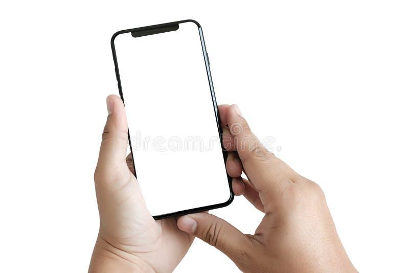 nuevo smartphone de la tecnología del teléfono con la pantalla en blanco y el fra moderno fotografía de archivo libre de regalías
