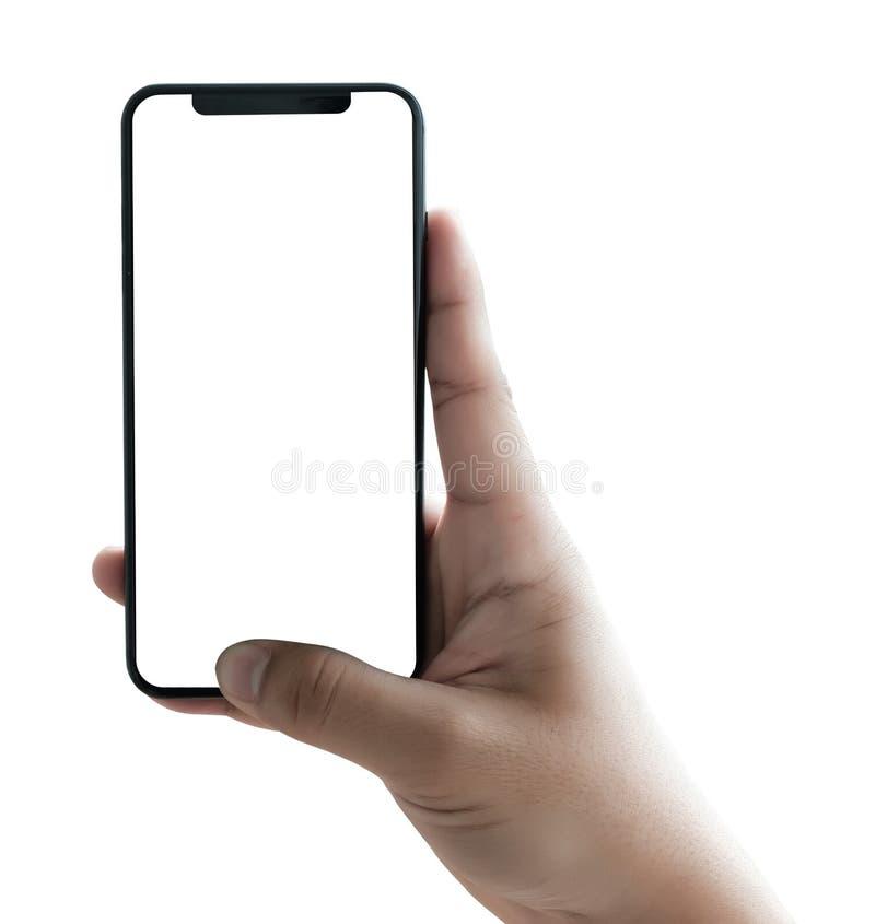 nuevo smartphone de la tecnología del teléfono con la pantalla en blanco y el fra moderno imagen de archivo