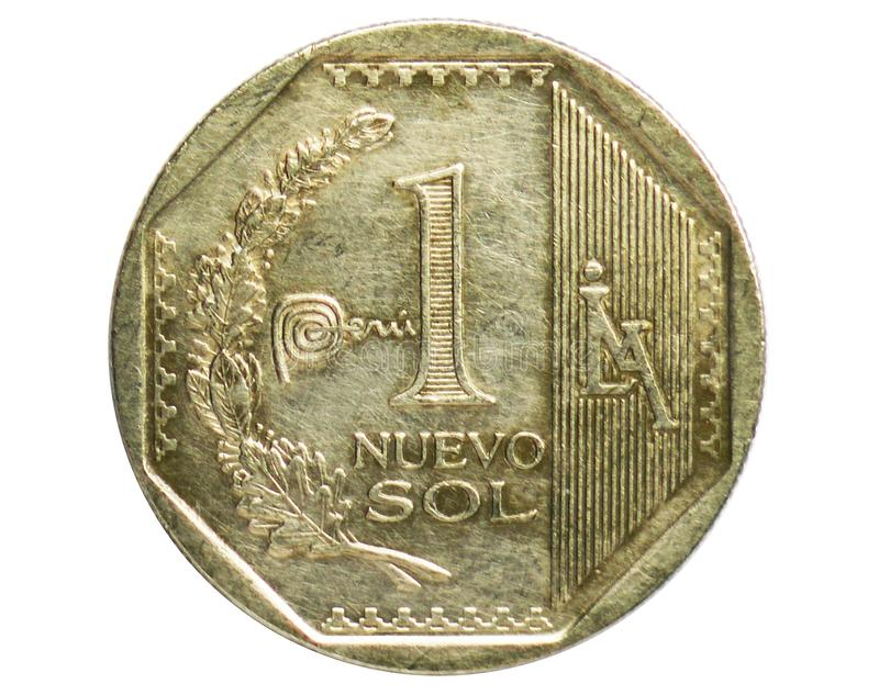 1 Nuevo Sol Peru Mark coin, 1991~2015 - Nuevo Sol Circulation serie, Bank of Peru. Obverse, issued on 2012. Isolated on white royalty free stock photos