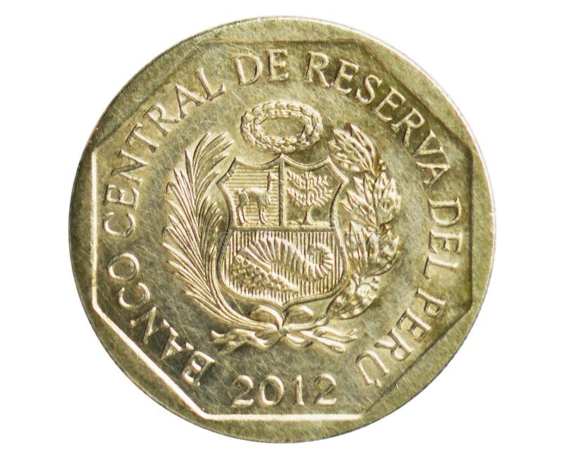 1 Nuevo Sol Peru Mark coin, 1991~2015 - Nuevo Sol Circulation serie, Bank of Peru. Obverse, issued on 2012. Isolated on white royalty free stock image