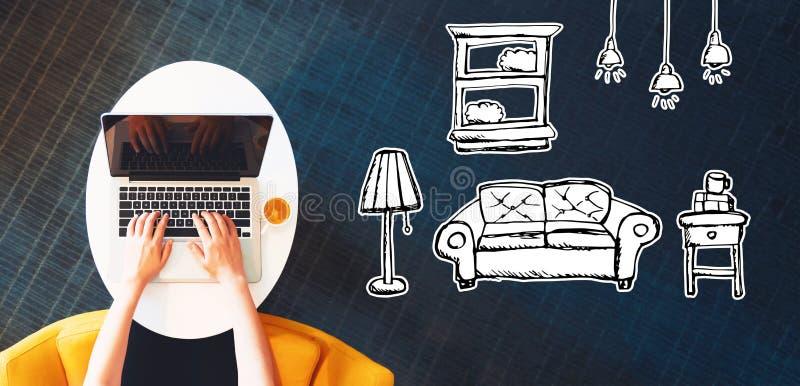 Nuevo sueño del apartamento con la persona que usa un ordenador portátil stock de ilustración