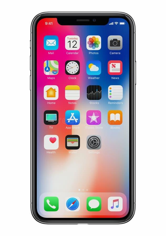 Nuevo vista delantera del iPhone X de Apple sobre el fondo blanco foto de archivo