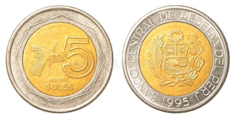 5 nuevo zolu Peruwiańska moneta fotografia stock