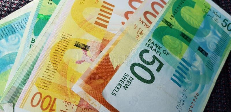 Nuevos billetes de banco de los shekels de 100, 50 imagen de archivo