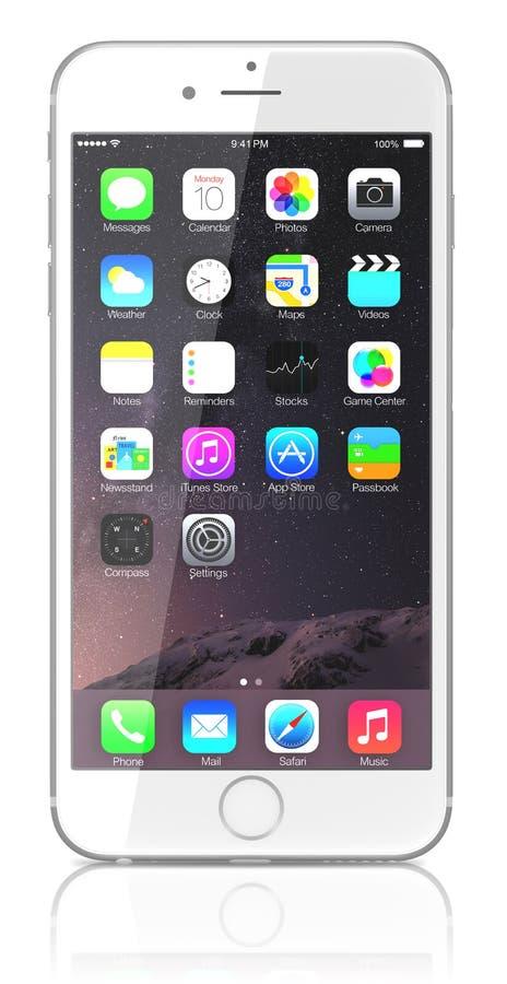 Nuevos demostración más del iPhone 6 de plata la pantalla de inicio con IOS 8 fotos de archivo libres de regalías