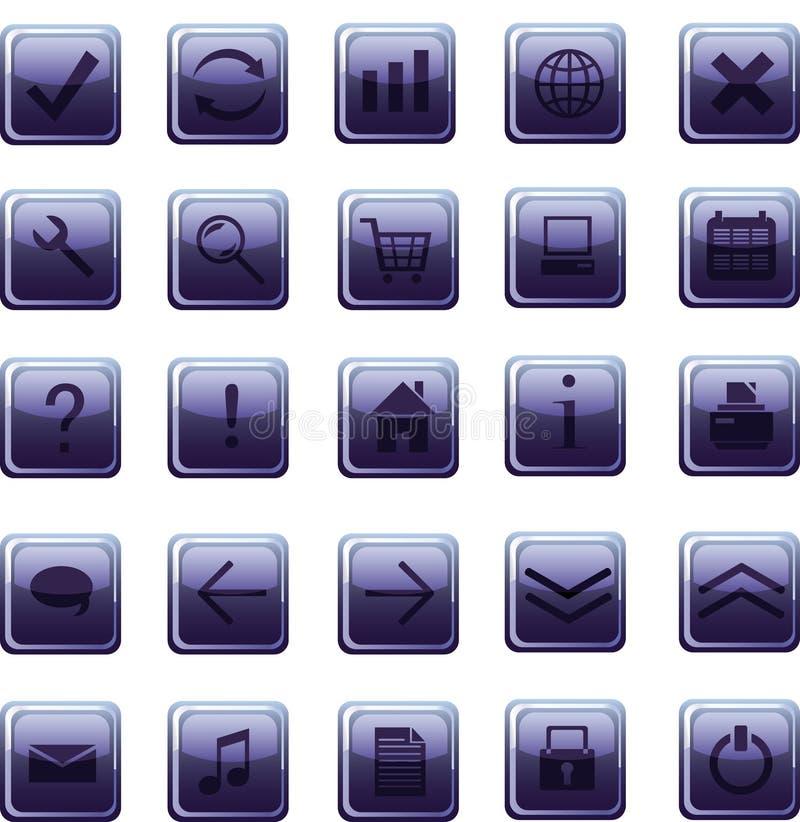 Nuevos iconos azul marino de cristal, botones ilustración del vector