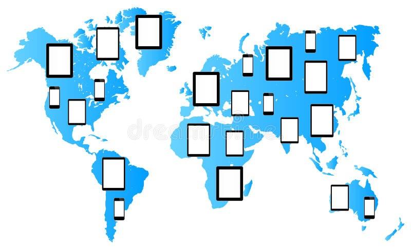 Nuevos medios tabletas y teléfonos de la tecnología stock de ilustración