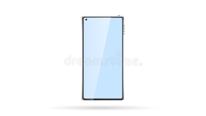 Nuevos teléfono móvil, smartphone de la pantalla táctil y cámara frameless elegantes modernos hermosos del selfie en la pantalla  ilustración del vector
