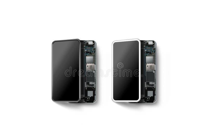Nuevos teléfonos elegantes modernos con la cáscara abierta aislada, stock de ilustración