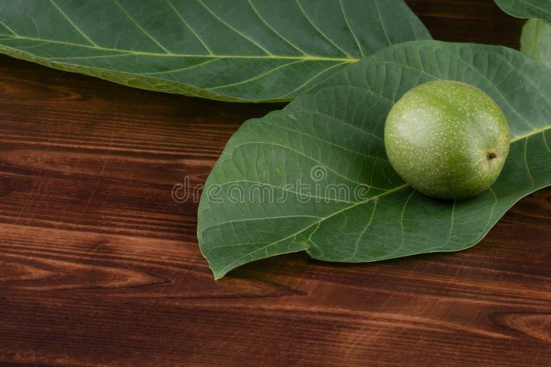 nuez verde en una hoja, en un fondo de madera imagen de archivo libre de regalías