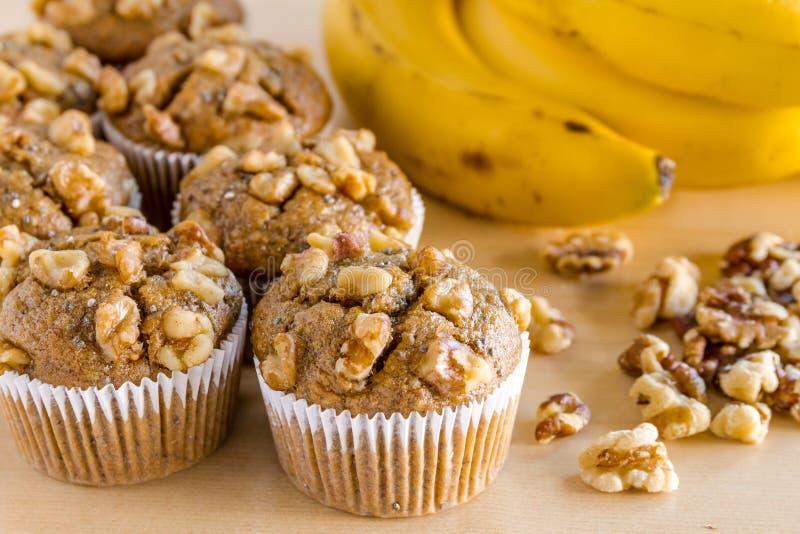 Nuez y Chia Seed Muffins del plátano fotografía de archivo libre de regalías