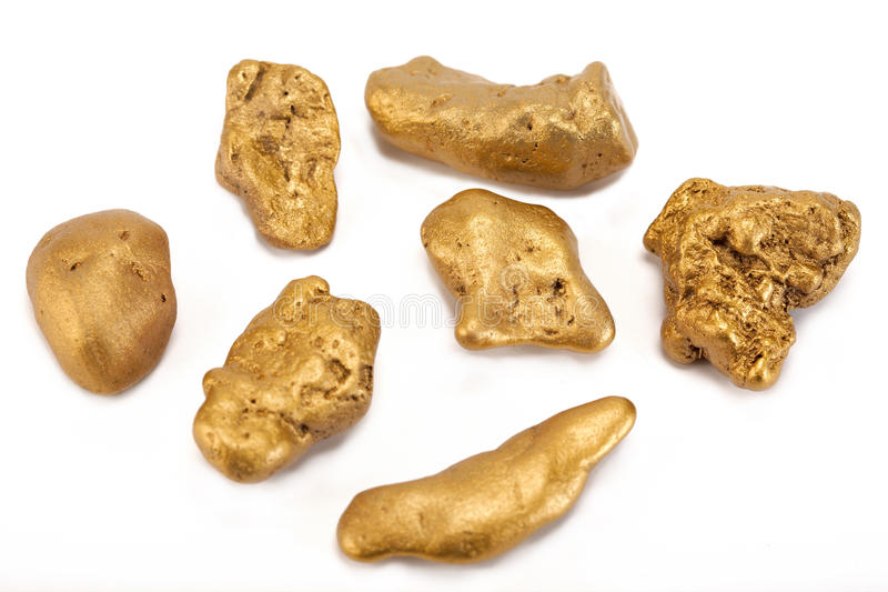 Nuggets of gold stock photography