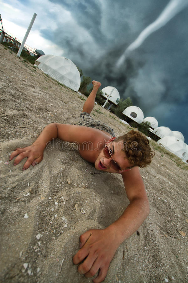 Nuisance. Man is saved from disaster royalty free stock image