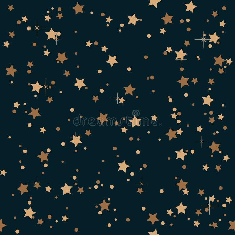 Nuit élégante sans couture de vintage et fond d'or de profil sous convention astérisque illustration libre de droits